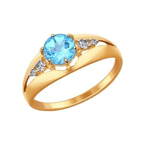Кольцо из золота с голубым топазом и фианитами (714438) - фото