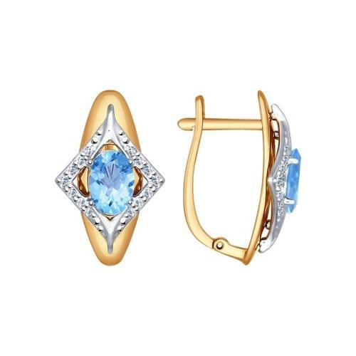 Серьги SOKOLOV из комбинированного золота с голубыми топазами и фианитами кольцо sokolov из комбинированного золота с голубыми фианитами