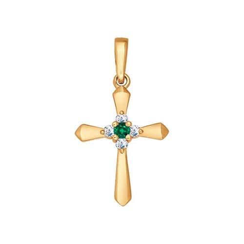 Крест из золота с бриллиантами и изумрудом