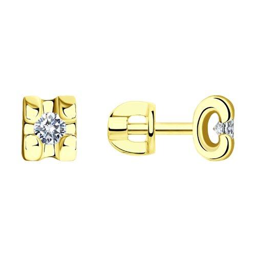 Серьги из желтого золота с бриллиантами (1021194-2) - фото