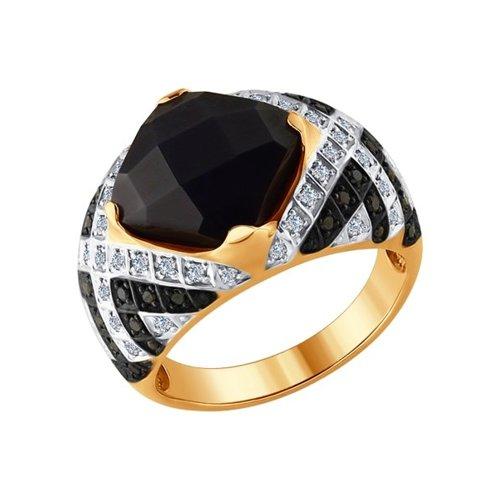 Кольцо из золота с бриллиантами и чёрной керамикой