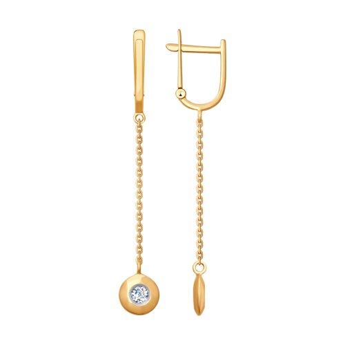 Серьги из золота с фианитами (027798) - фото