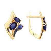 Серьги из золота с синими корундами и фианитами