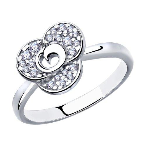 Кольцо из серебра с фианитами (94012863) - фото
