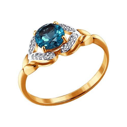 Кольцо из золота с топазом и фианитами (713873) - фото