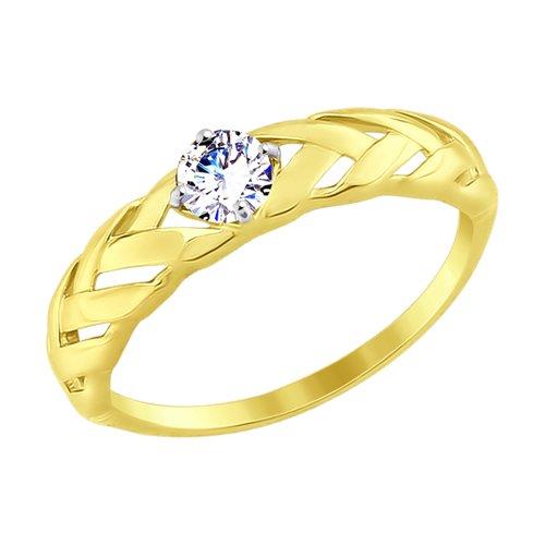 Кольцо из желтого золота с фианитом (017549-2) - фото