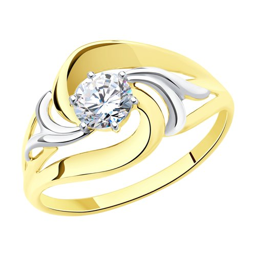 Кольцо из желтого золота с фианитом (017543-2) - фото