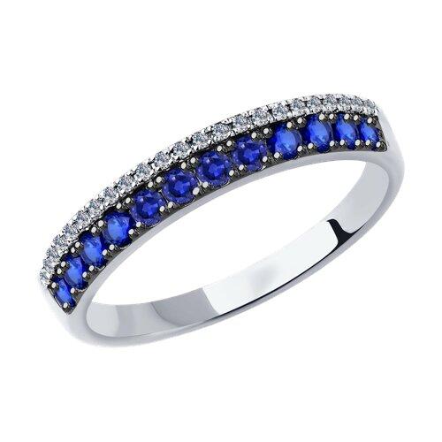 Кольцо из белого золота с бриллиантами и сапфирами 2011037-3 sokolov фото