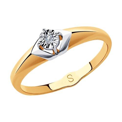 Кольцо из комбинированного золота с бриллиантом 1011844 SOKOLOV фото