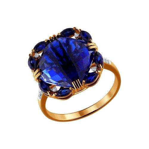 Кольцо из золота с бриллиантами и корундами сапфировыми (синт.)