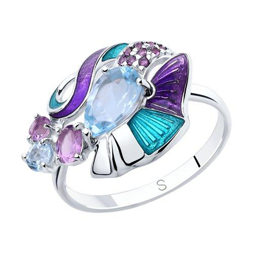 Кольцо из серебра с эмалью и миксом камней (92011822) - фото