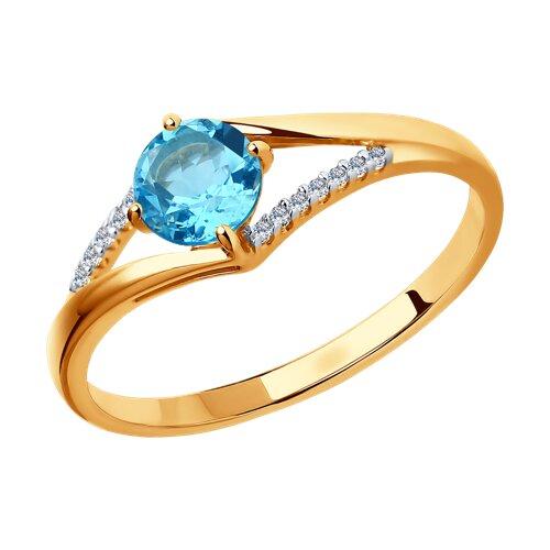 Кольцо из золота с топазом и фианитами (714118) - фото