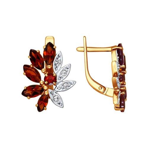 Серьги-цветы с красными камнями SOKOLOV