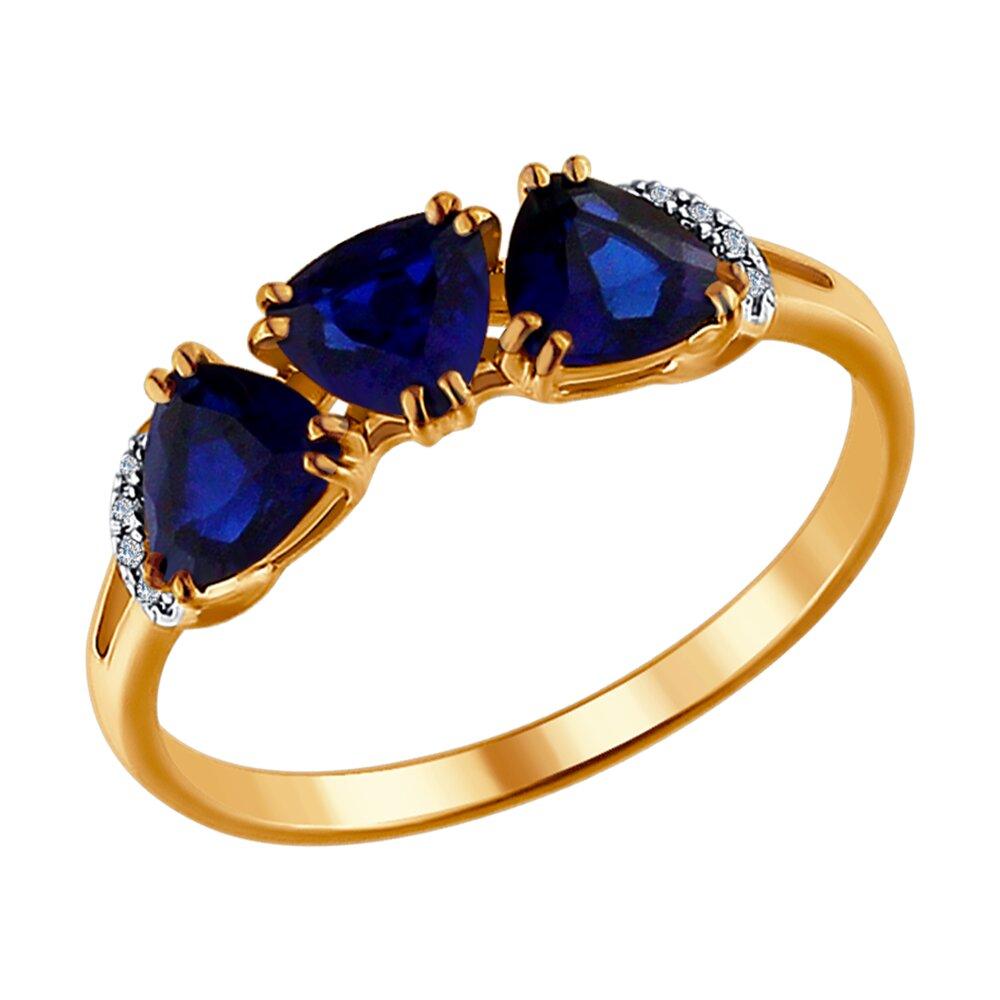 Кольцо SOKOLOV из золота с бриллиантами и корундами сапфировыми (синт.) фото