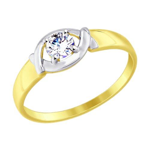 Кольцо из желтого золота с фианитом (017522-2) - фото