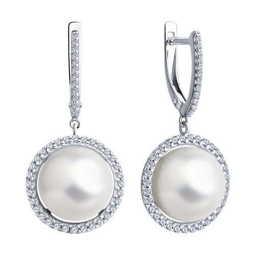 Серьги из серебра с жемчугом и фианитами (94023734) - фото №2