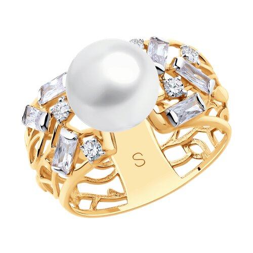 Кольцо из золота с жемчугом и фианитами (791151) - фото