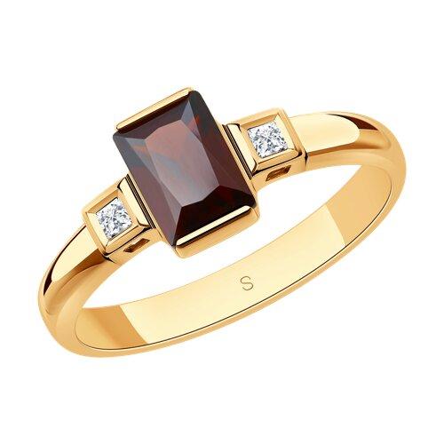 Кольцо из золота с гранатом и Swarovski Zirconia (715051) - фото