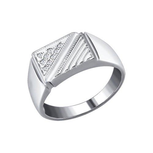 Печатка из серебра с фианитами
