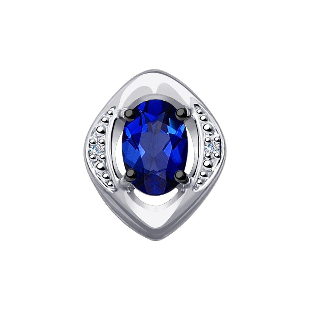 Подвеска SOKOLOV из белого золота с бриллиантами и синим корунд (синт.) фото