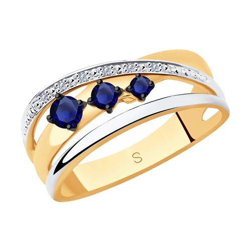 Кольцо из золота с бриллиантами и сапфирами 2011119 SOKOLOV фото
