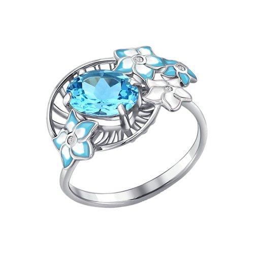 Кольцо из серебра с эмалью с топазом и фианитами