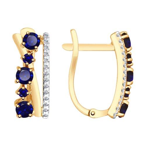 Серьги из золота с синими корундами и фианитами (725681) - фото