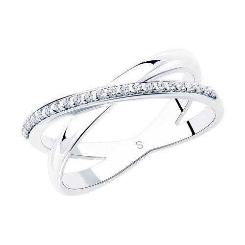 Кольцо из серебра с фианитами (94012051) - фото