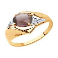 Кольцо из золота с ситаллом султанит и фианитами