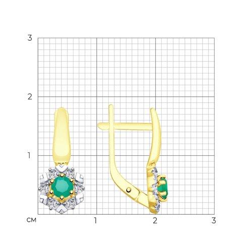 Серьги из желтого золота с агатами и фианитами 725777-2 SOKOLOV фото 2