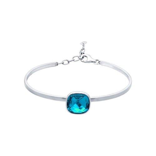Браслет жёсткий из серебра с голубым кристаллом swarovski