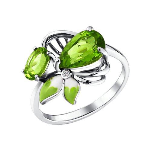 Кольцо - серебряный цветок с эмалью и хризолитами
