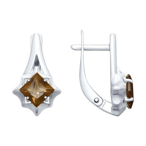 Серьги из серебра с раухтопазами (92021679) - фото