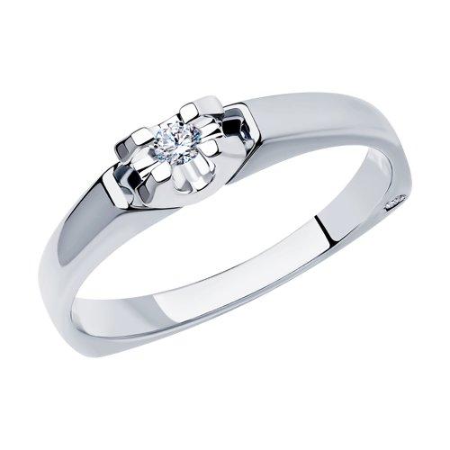 Кольцо из белого золота с бриллиантами (1011661-3) - фото