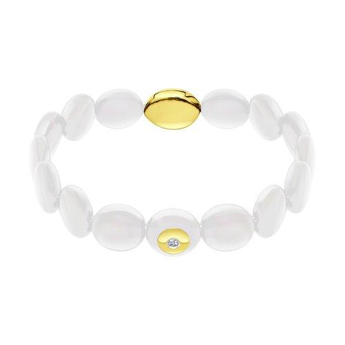 Браслет из желтого золота с бриллиантами и белыми керамическими вставками (6055004-2) - фото