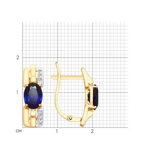 Серьги из золота с синими корунд (синт.) и фианитами 725569 SOKOLOV фото 2