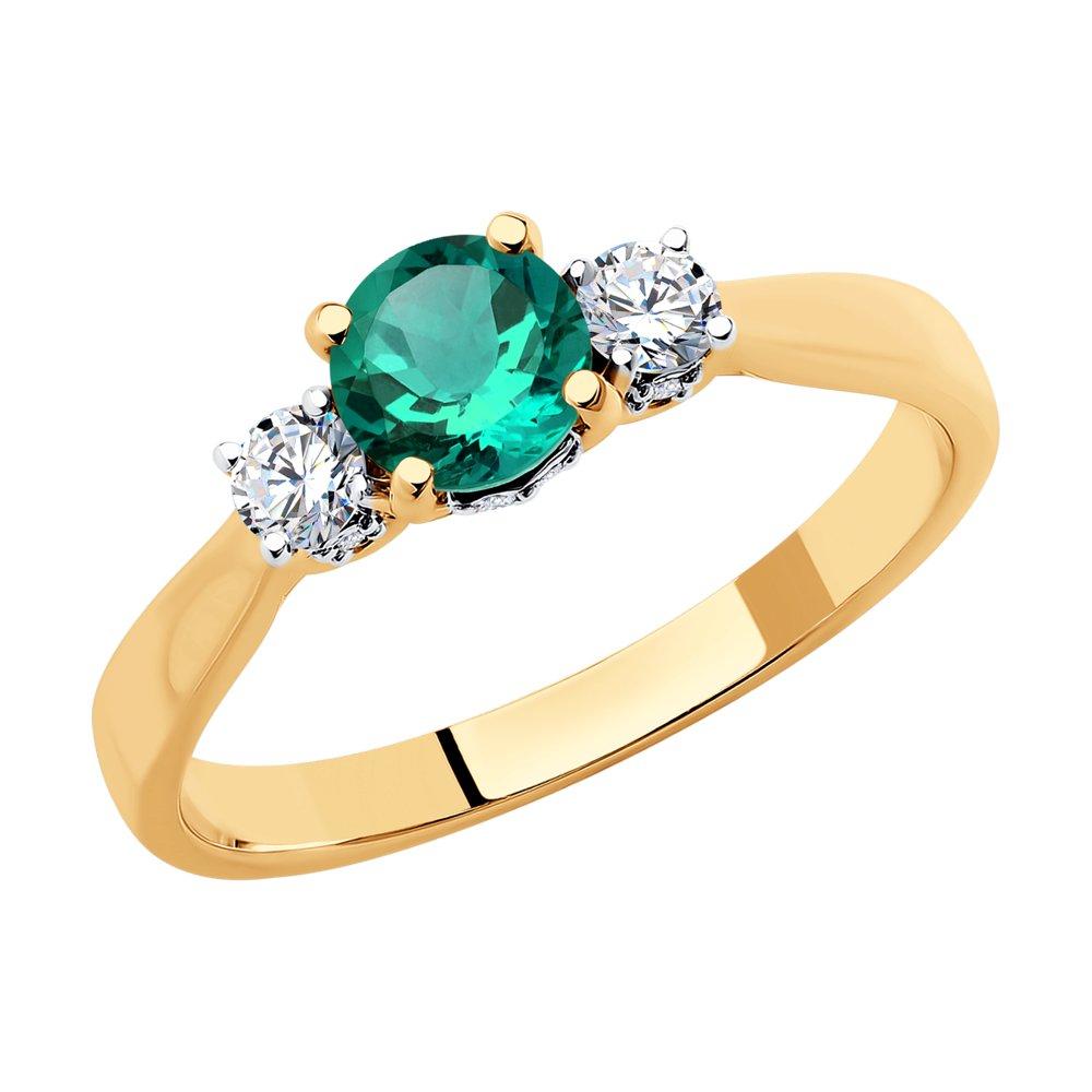 Кольцо SOKOLOV из золота с бриллиантами и изумрудом sargon jewelry кольцо с бриллиантами и изумрудом из жёлтого золота r1311 2010 размер 17 5