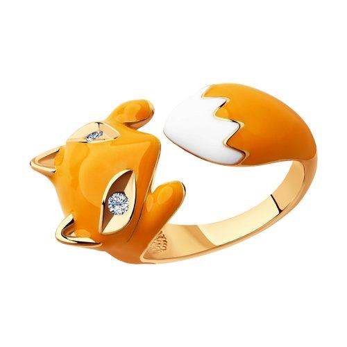 Позолоченное кольцо в виде лисы