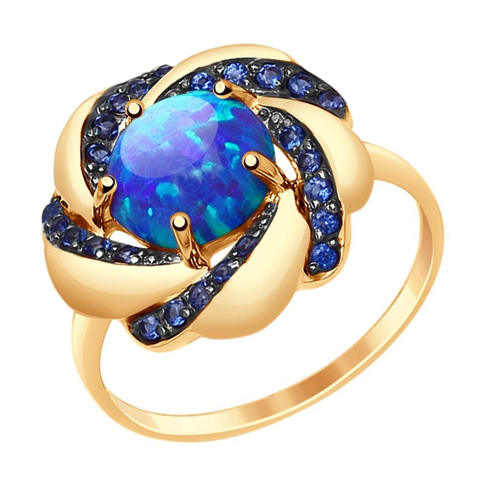 Фото - Кольцо SOKOLOV из золота с синим опалом и синими фианитами кольцо sokolov из желтого золота с синими корунд синт синим опалом и зелеными и синими фианитами