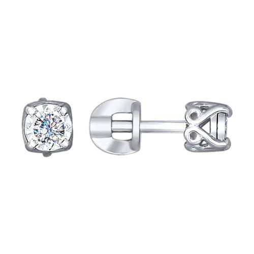 Серьги из белого золота с алмазной гранью с бриллиантами (1021140-3) - фото