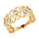 Кольцо из золота с бесцветными и красным фианитами
