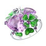 Кольцо из серебра с эмалью и сиреневыми ситаллами и фианитами