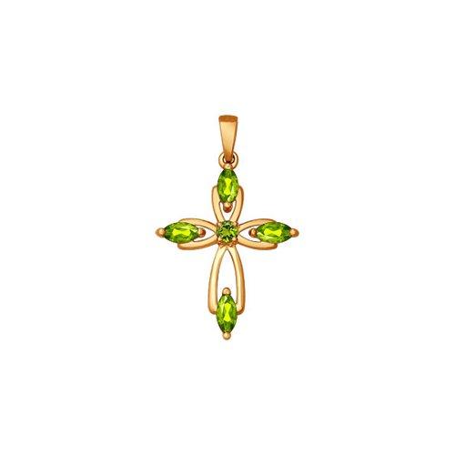 Крест из золота с хризолитами