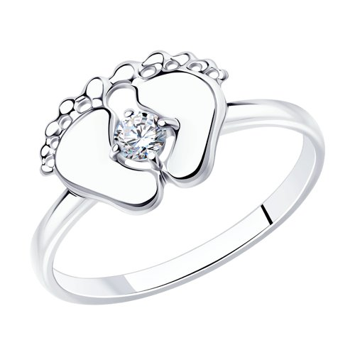 Кольцо «Пяточки» из серебра с фианитом