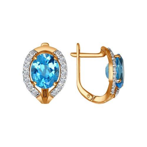 Золотые серьги с голубыми камнями SOKOLOV