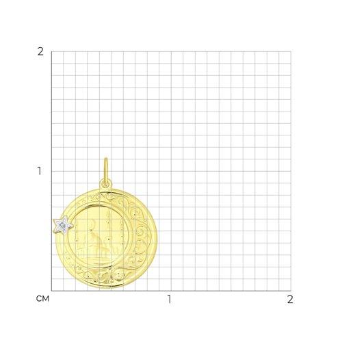 Подвеска из желтого золота с фианитом (034844-2) - фото №2