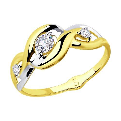 Кольцо из желтого золота с фианитами (018037-2) - фото