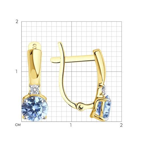 Серьги из желтого золота с бесцветными и голубыми фианитами (026827-2) - фото №2