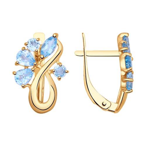 Серьги из золота с голубыми топазами (724751) - фото