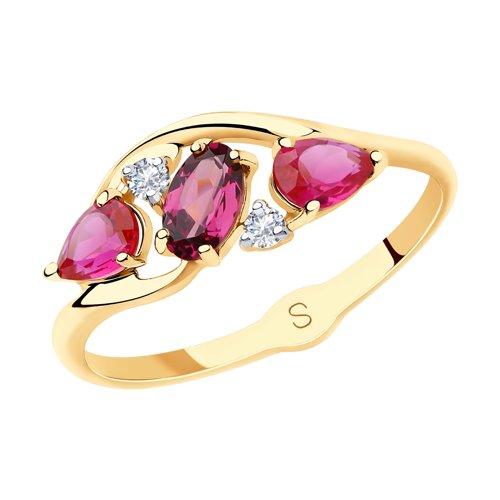 Кольцо из золота с миксом камней (715628) - фото